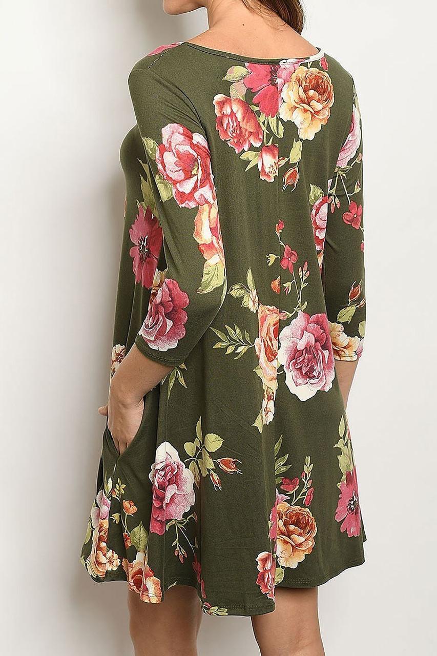 Back of 3/4 Sleeve Olive Floral Boat Neck Mini Dress