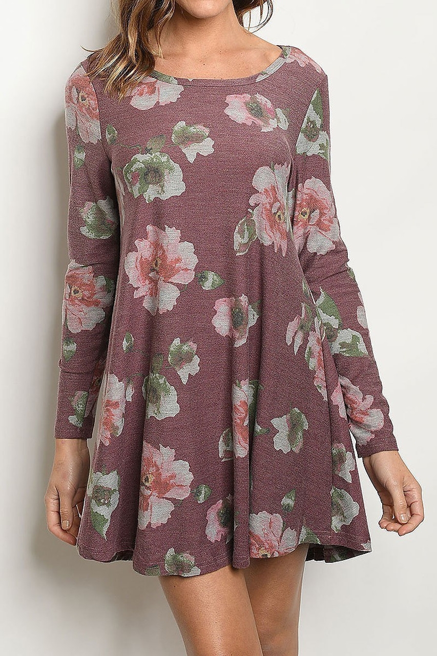 Front side image of Burgundy Long Sleeve Vintage Floral Round Neck Mini Dress with a muted color scheme designed to look washed out.