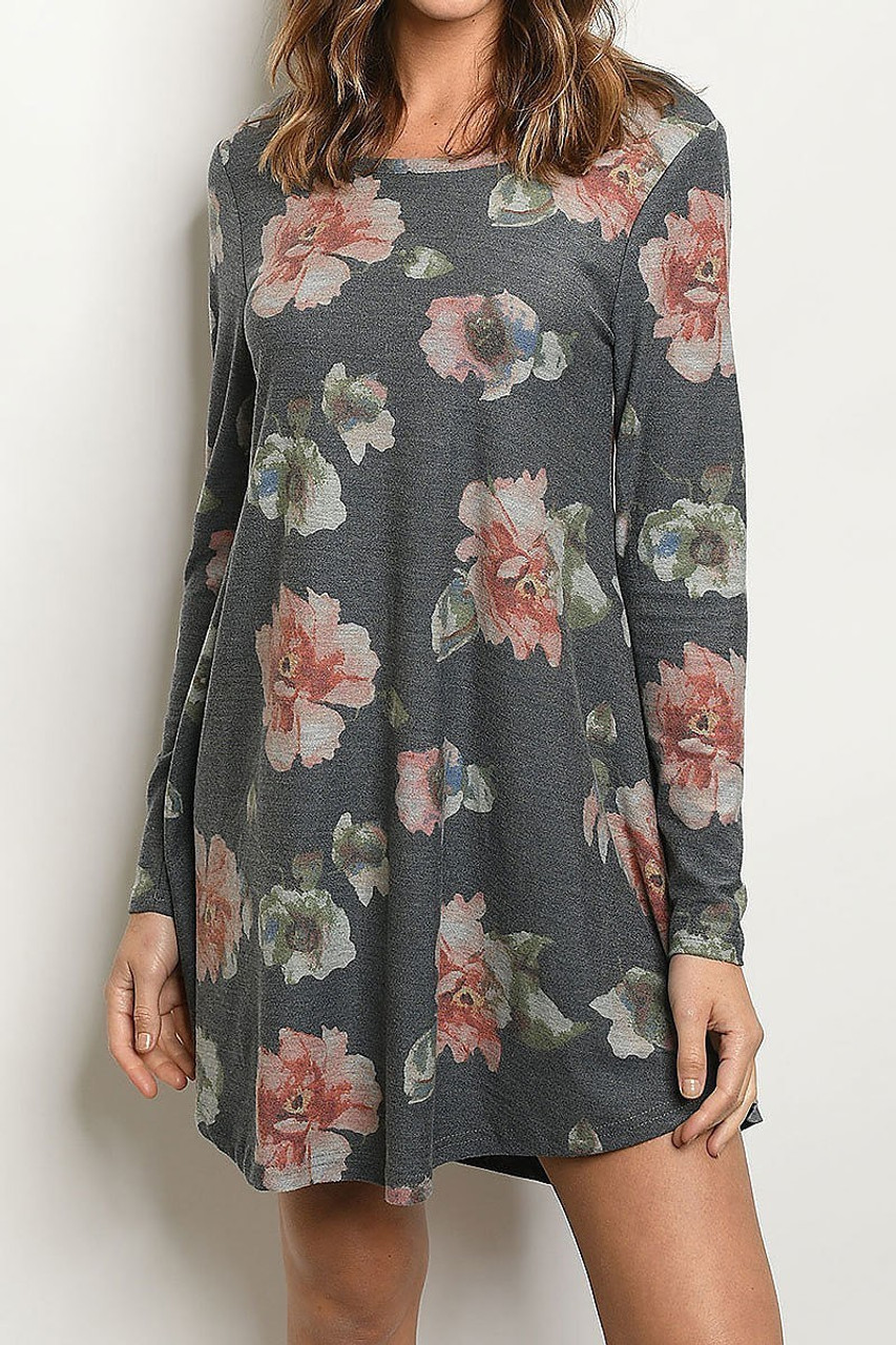 Front of Navy Long Sleeve Vintage Floral Round Neck Mini Dress with a faded look.