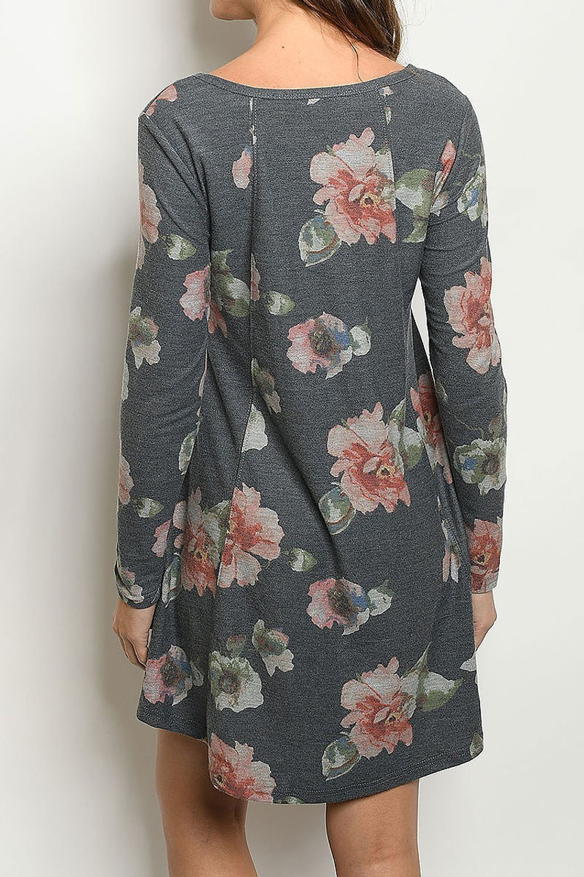 Back side image of Long Sleeve Vintage Floral Round Neck Mini Dress