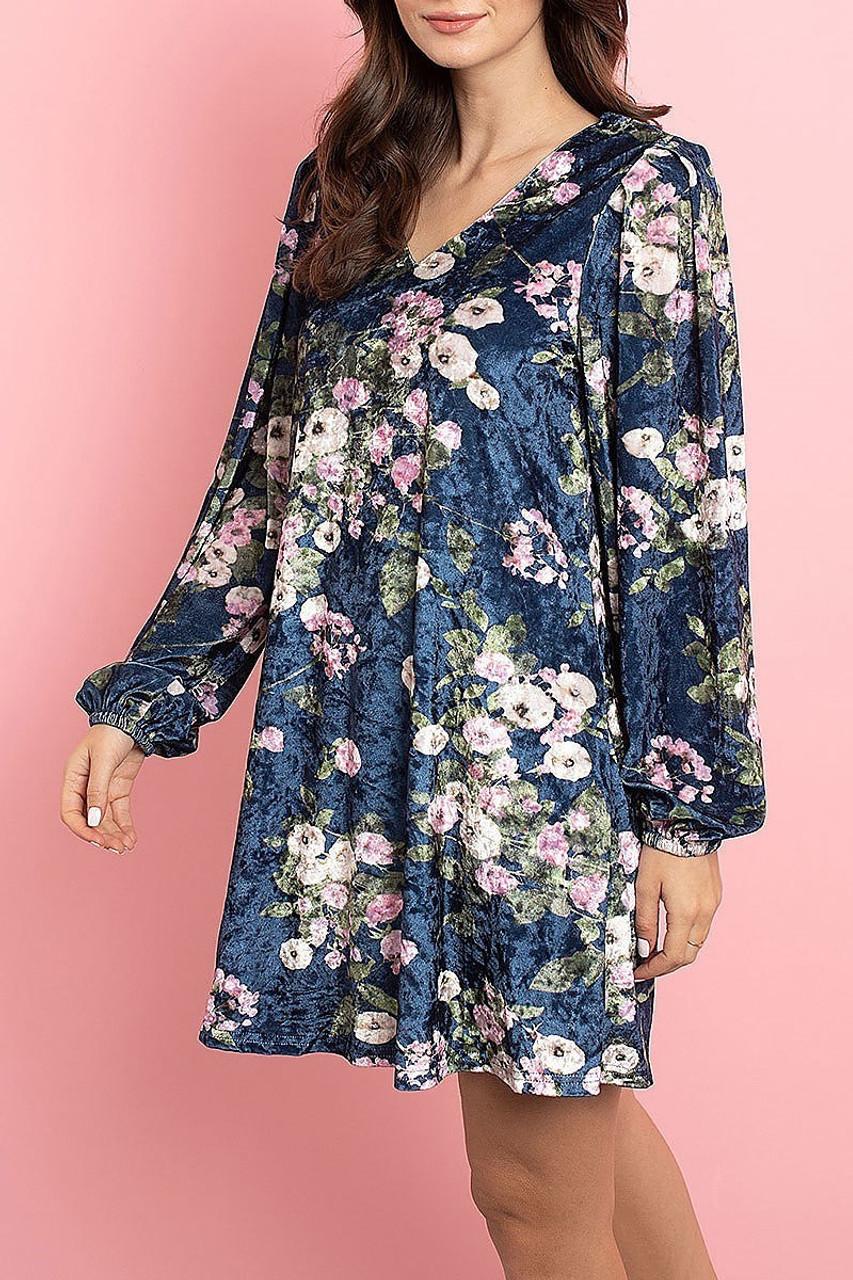 45 degree left side view of Navy Velvet Floral Long Sleeve Gathered Cuff V-Neck Mini Dress