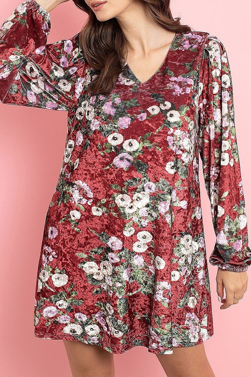 Front of Wine Velvet Floral Long Sleeve Gathered Cuff V-Neck Mini Dress with baggy sleeves that feature elasticized cuffs.