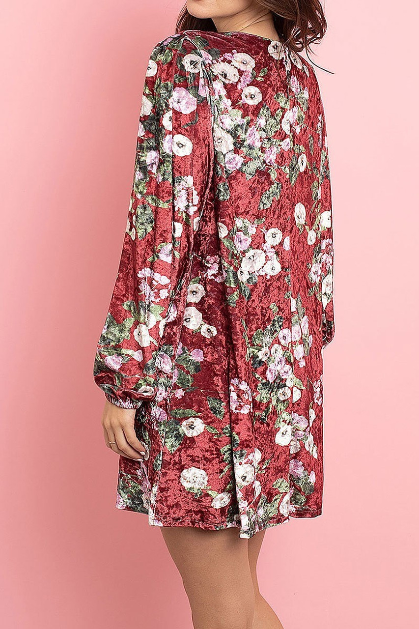 Left back side image of Wine Velvet Floral Long Sleeve Gathered Cuff V-Neck Mini Dress