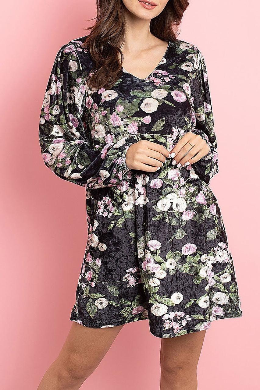 Front side image of Black Velvet Floral Long Sleeve Gathered Cuff V-Neck Mini Dress