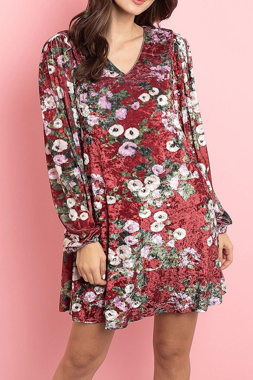 Front side image of Wine Velvet Floral Long Sleeve Gathered Cuff V-Neck Mini Dress
