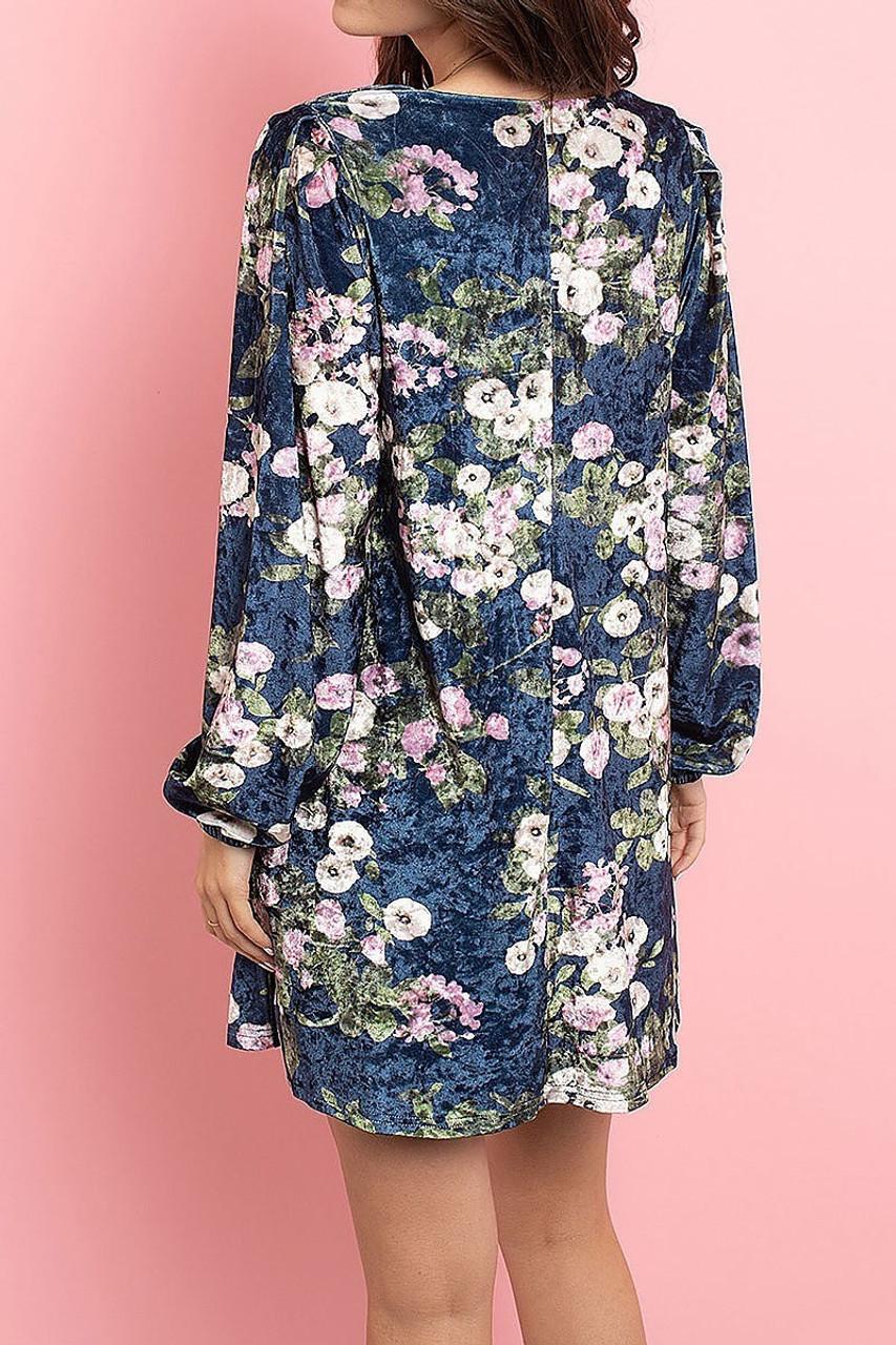 Back side image of Navy Velvet Floral Long Sleeve Gathered Cuff V-Neck Mini Dress