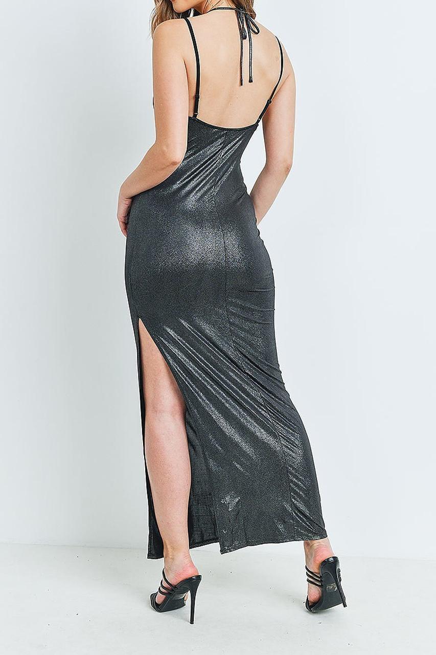 Back of Black Metallic Side Slit Halter V Neck Bodycon Maxi Dress