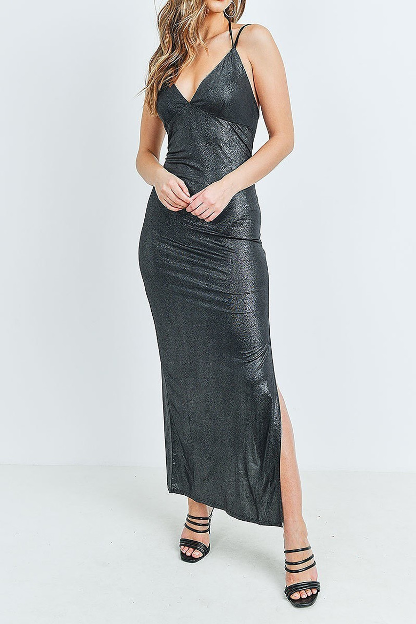 Front of Black Metallic Side Slit Halter V Neck Bodycon Maxi Dress pictured styled with black strappy open toed heels.
