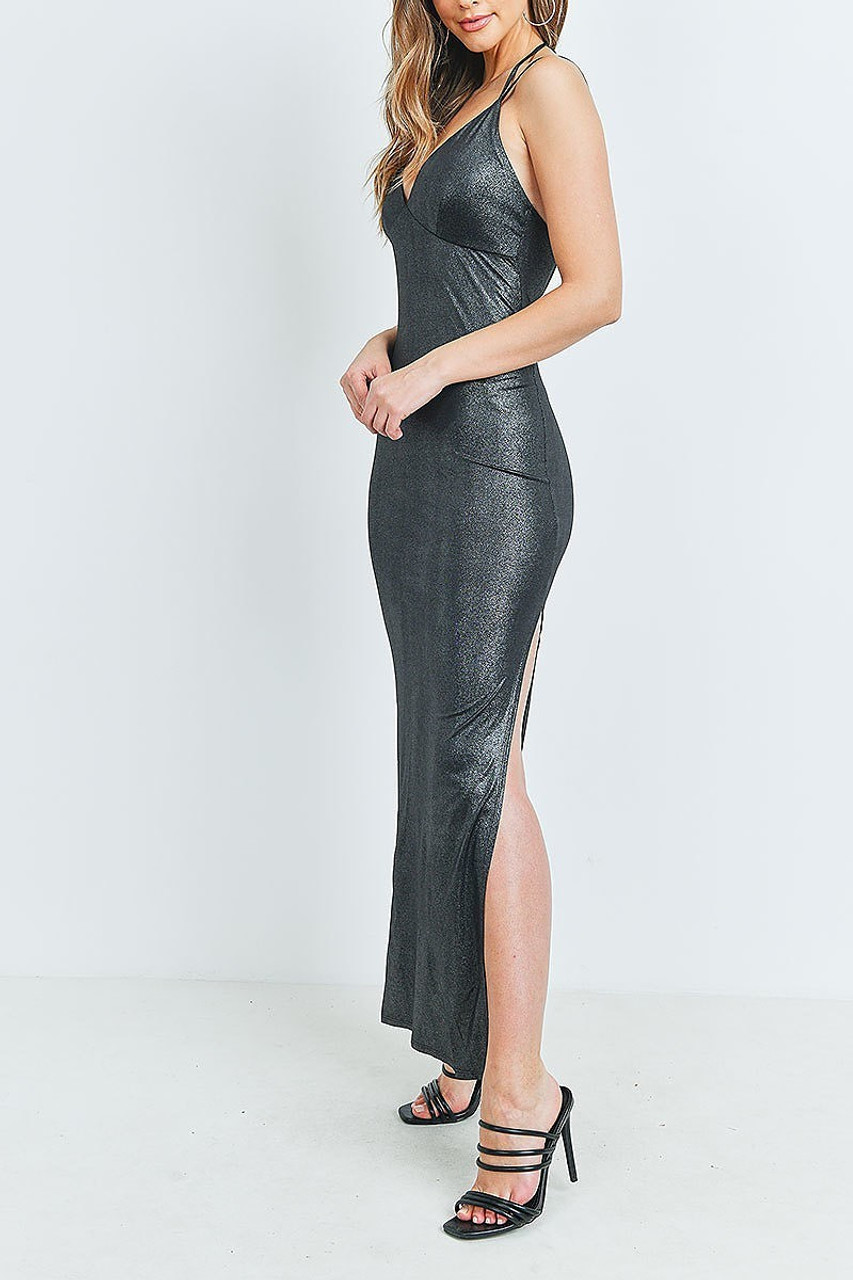 Left side of Black Metallic Side Slit Halter V Neck Bodycon Maxi Dress