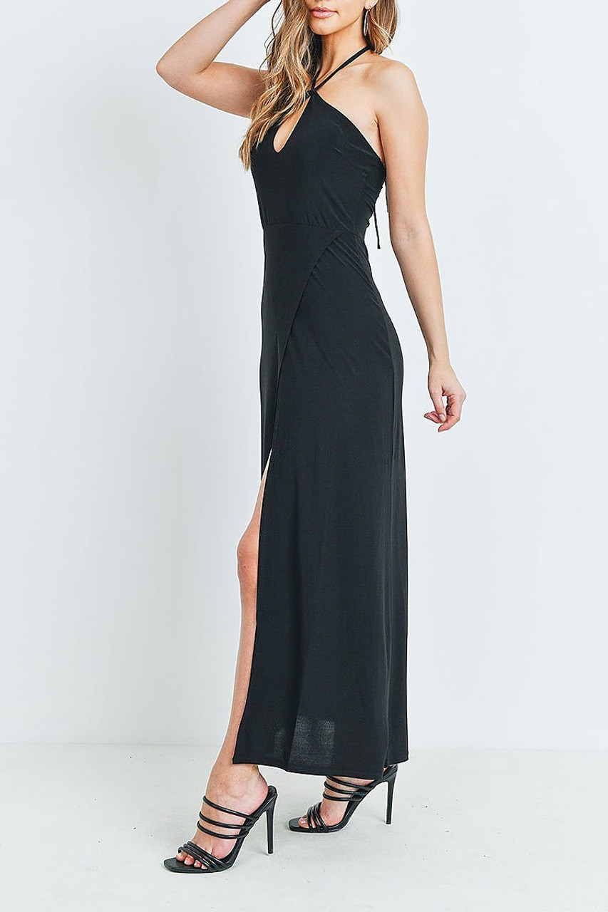 Left side of Black Front Slit Keyhole Halter Neck Maxi Dress with an easy to style solid design.