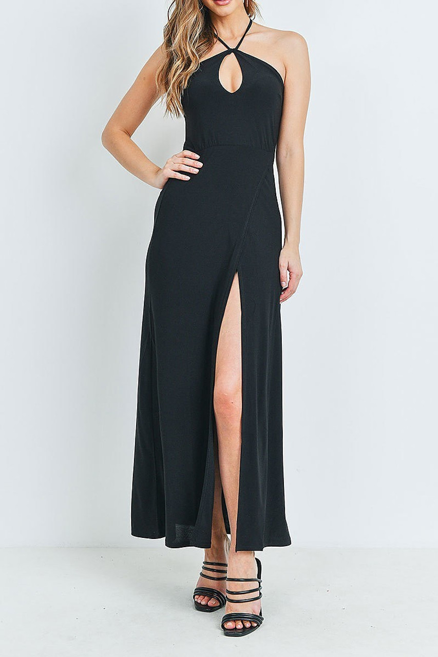 Front of Black Front Slit Keyhole Halter Neck Maxi Dress with a sexy high split  front.
