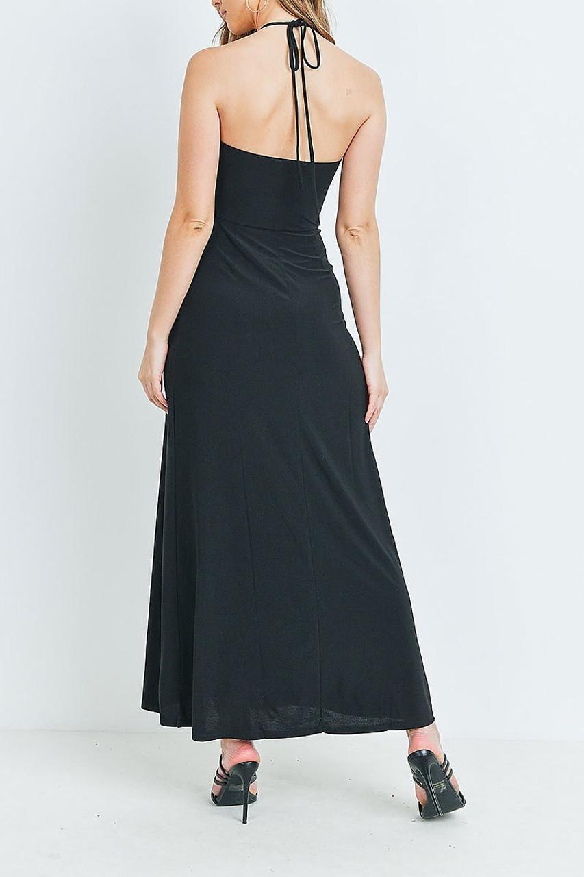 Back of Black Front Slit Keyhole Halter Neck Maxi Dress