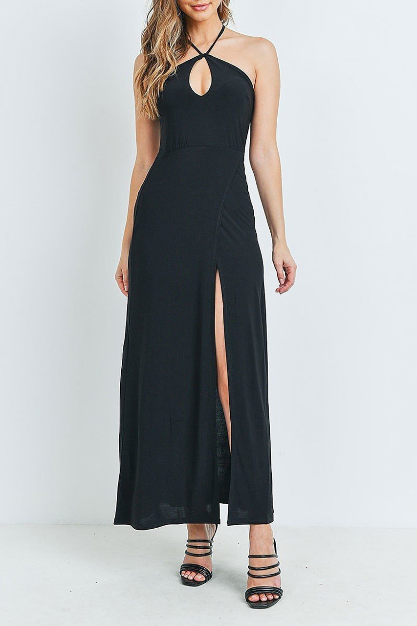 Full modeled view of Black Front Slit Keyhole Halter Neck Maxi Dress shown styled with black open toed strappy heels.