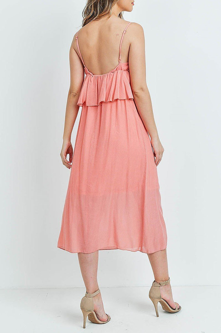 Back of Salmon Ruffle Accent V-Neck Flare Midi Dress showing off continued wrap around flounce detail.