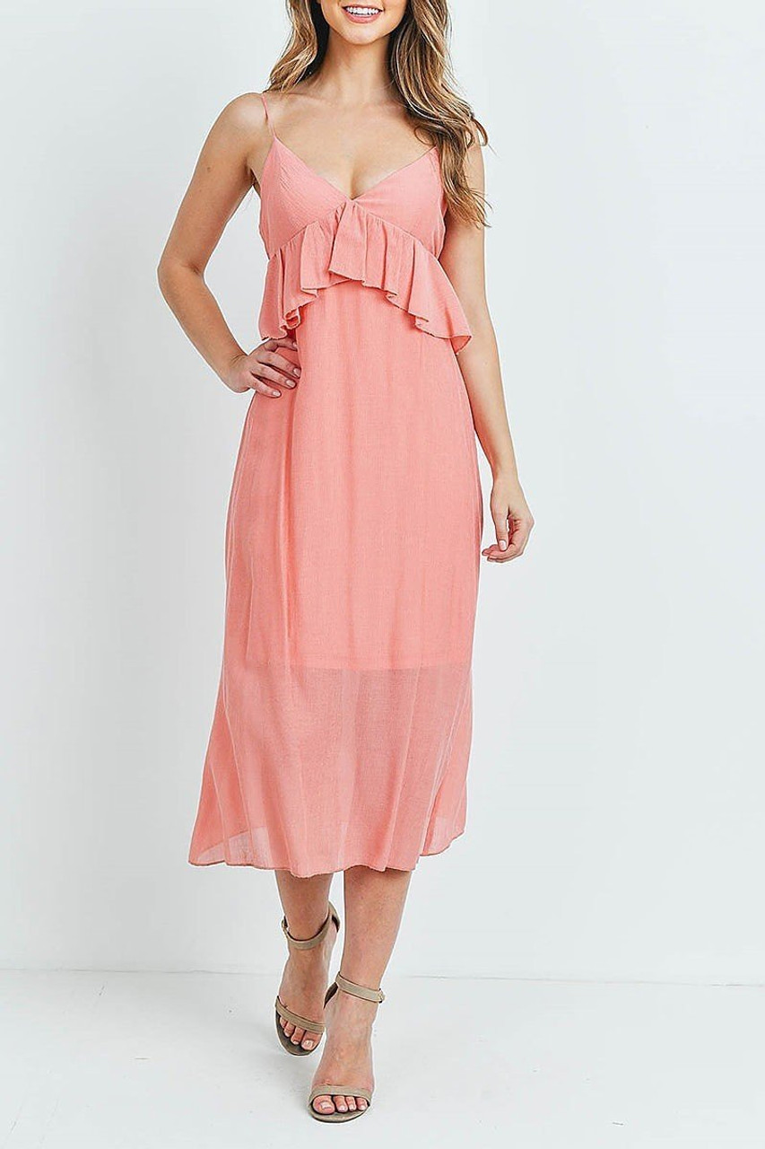Front of Salmon Ruffle Accent V-Neck Flare Midi Dress with flounce detail under the bust.