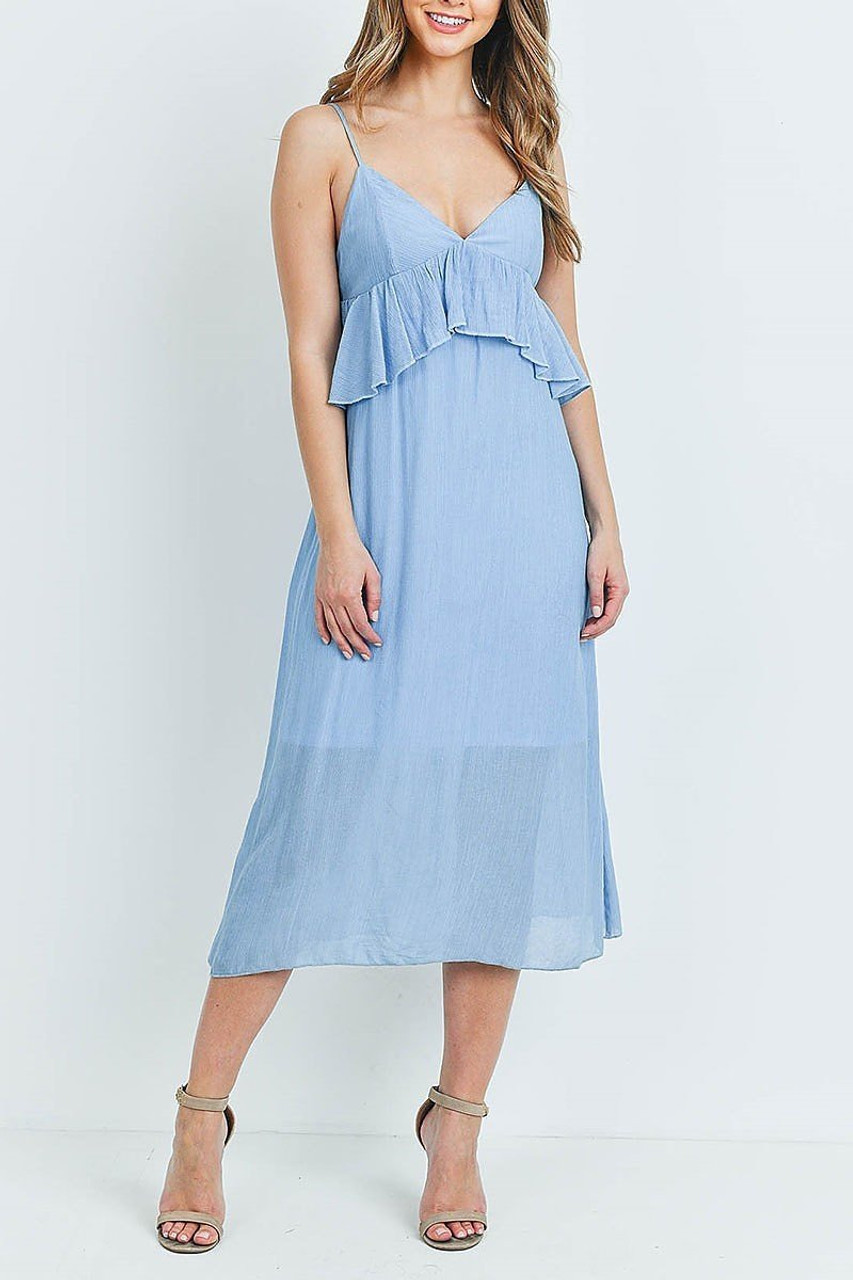 Front of Blue Ruffle Accent V-Neck Flare Midi Dress