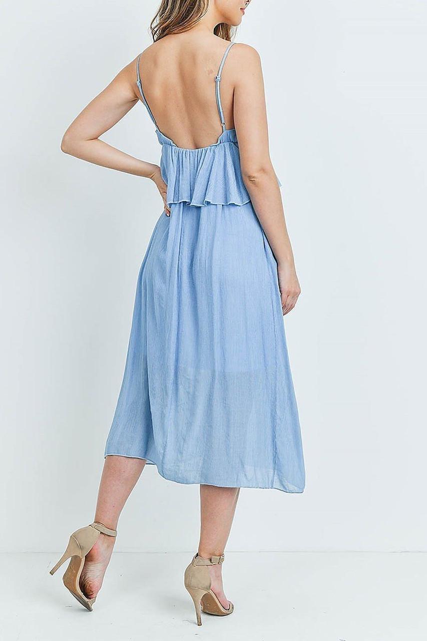 Back side image of Blue Ruffle Accent V-Neck Flare Midi Dress