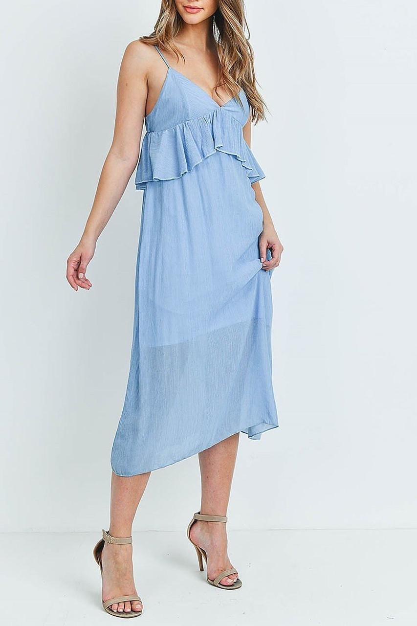 45 degree view of Blue Ruffle Accent V-Neck Flare Midi Dress