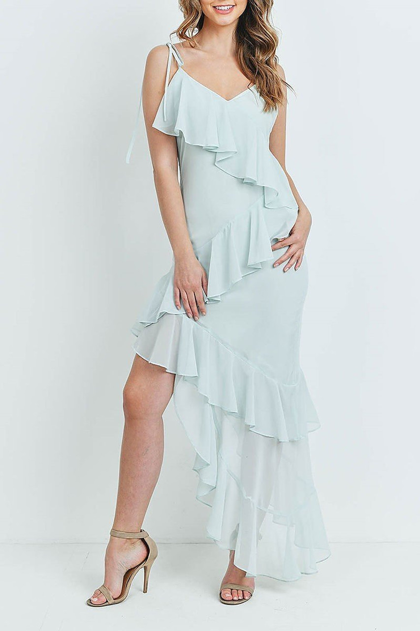 Front of Mint  Cascading Ruffle Hi-Low Shoulder Tie Maxi Dress with a flounce zigzag trim that goes all the way down the dress.