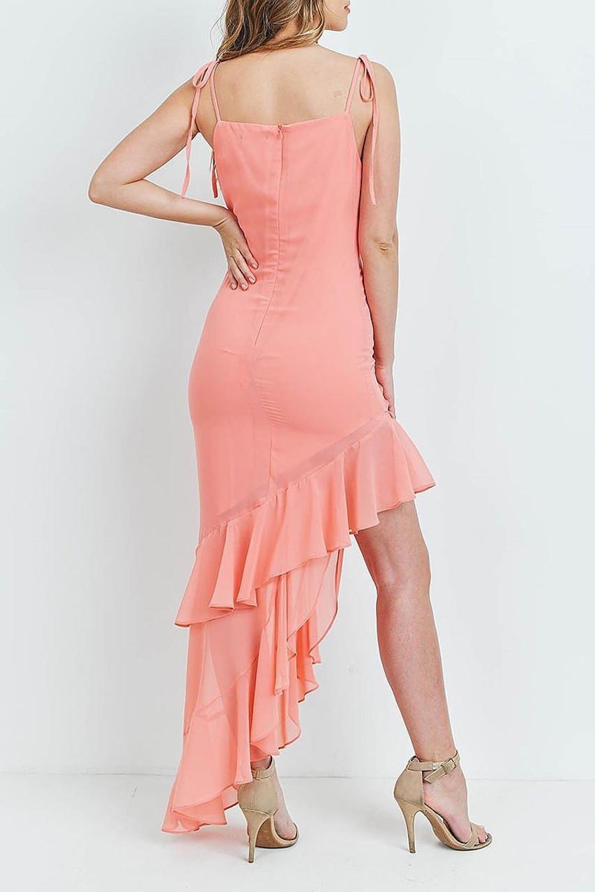 Back of Coral  Cascading Ruffle Hi-Low Shoulder Tie Maxi Dress