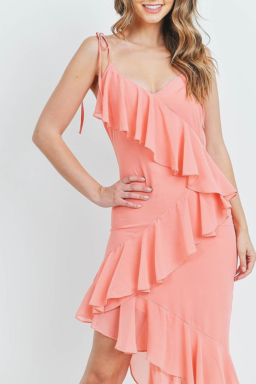Close up front view of Coral  Cascading Ruffle Hi-Low Shoulder Tie Maxi Dress