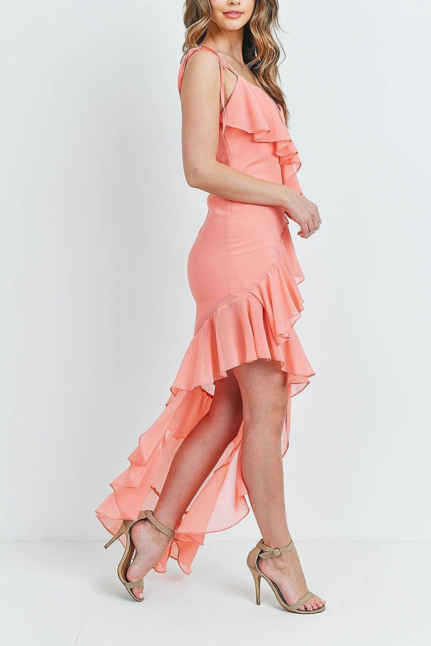 Right side of Coral  Cascading Ruffle Hi-Low Shoulder Tie Maxi Dress