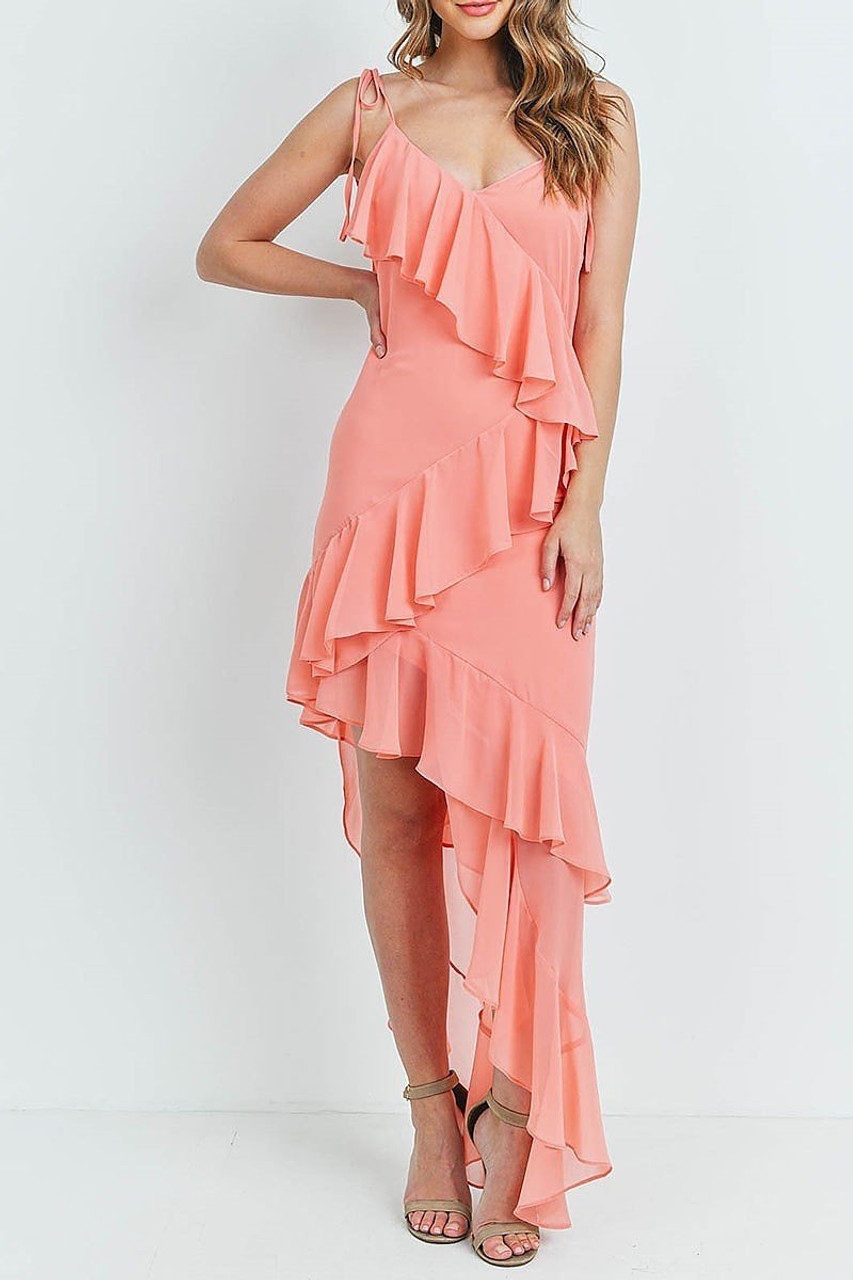 Coral  Cascading Ruffle Hi-Low Shoulder Tie Maxi Dress shown styled with nude heels.