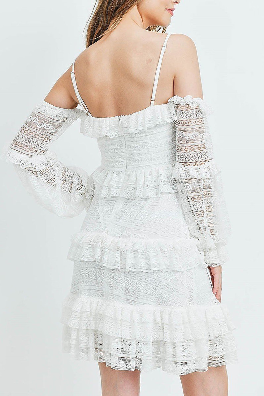Back of White Tiered Ruffle Off the Shoulder Lace Sleeve Dress