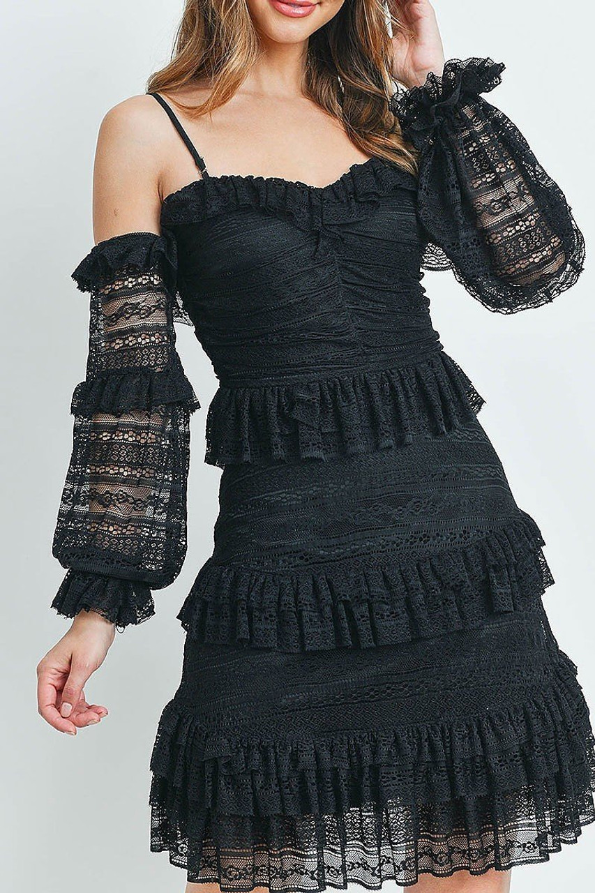 Front of Black Tiered Ruffle Off the Shoulder Lace Sleeve Dress