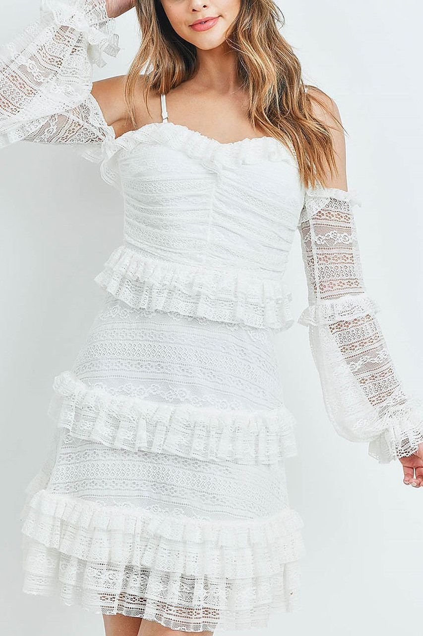 Front of White Tiered Ruffle Off the Shoulder Lace Sleeve Dress