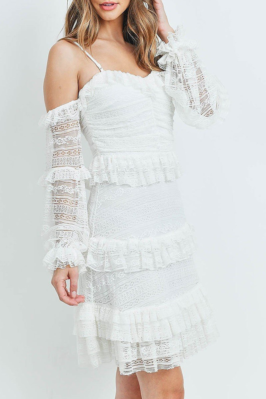 Left side of White Tiered Ruffle Off the Shoulder Lace Sleeve Dress
