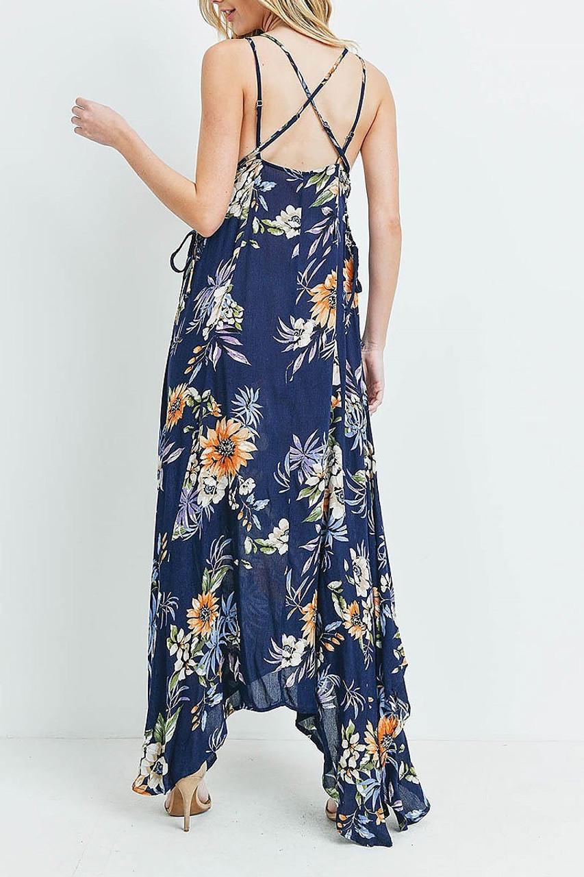 Back of Navy Floral  Flounce Asymmetrical Hem Maxi Dress with Crisscross Back