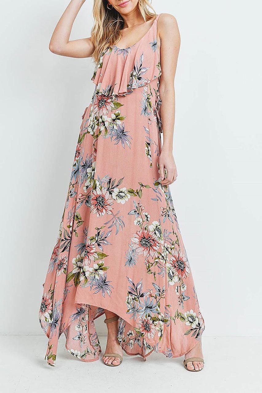 Front of Blush Floral  Flounce Asymmetrical Hem Maxi Dress with Crisscross Back with a gorgeous ruffled bib design.