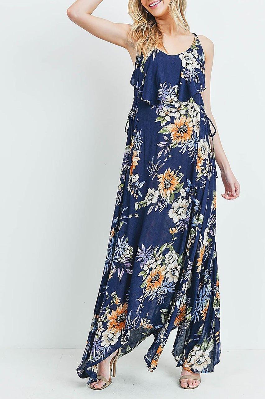 Front of Navy Floral  Flounce Asymmetrical Hem Maxi Dress with Crisscross Back