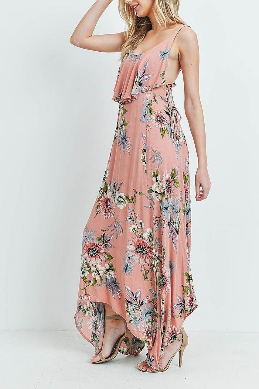 Left side of Blush Floral  Flounce Asymmetrical Hem Maxi Dress with Crisscross Back