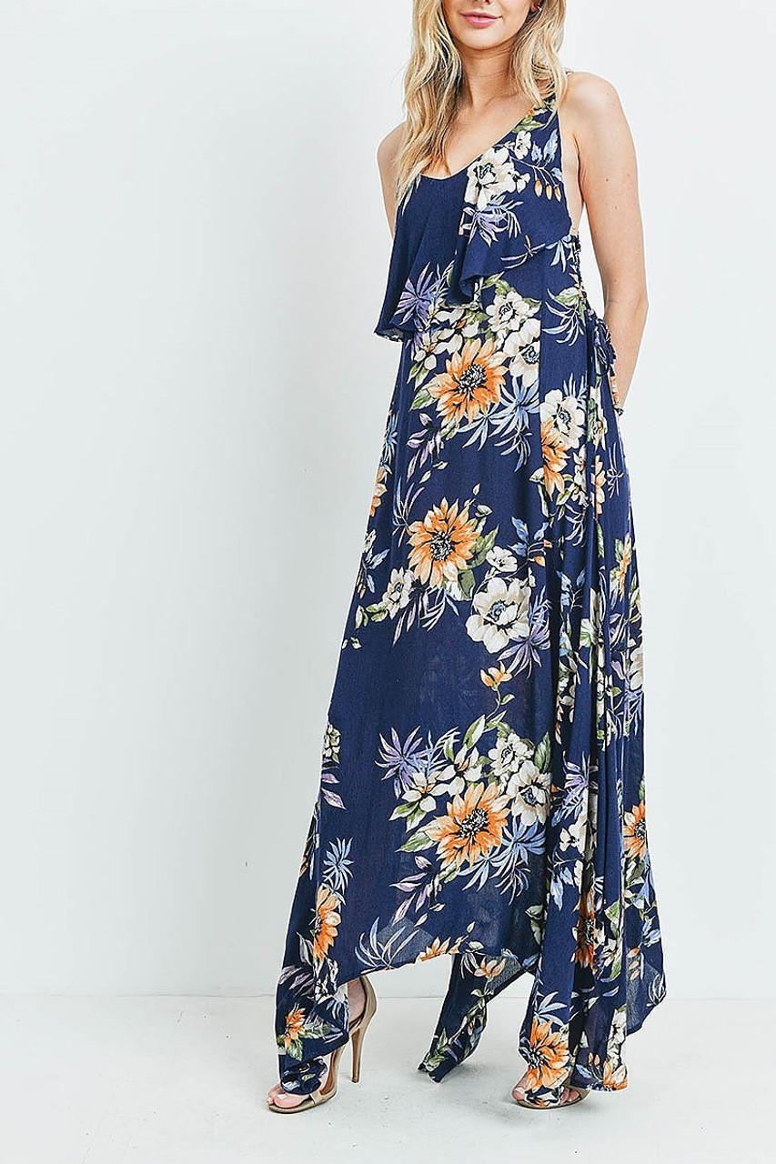 45 degree view of Navy Floral  Flounce Asymmetrical Hem Maxi Dress with Crisscross Back