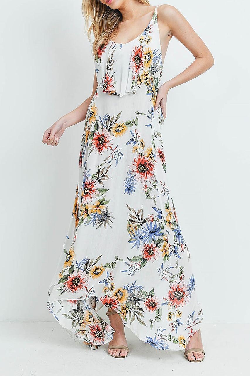 45 degree view of White Floral  Flounce Asymmetrical Hem Maxi Dress with Crisscross Back