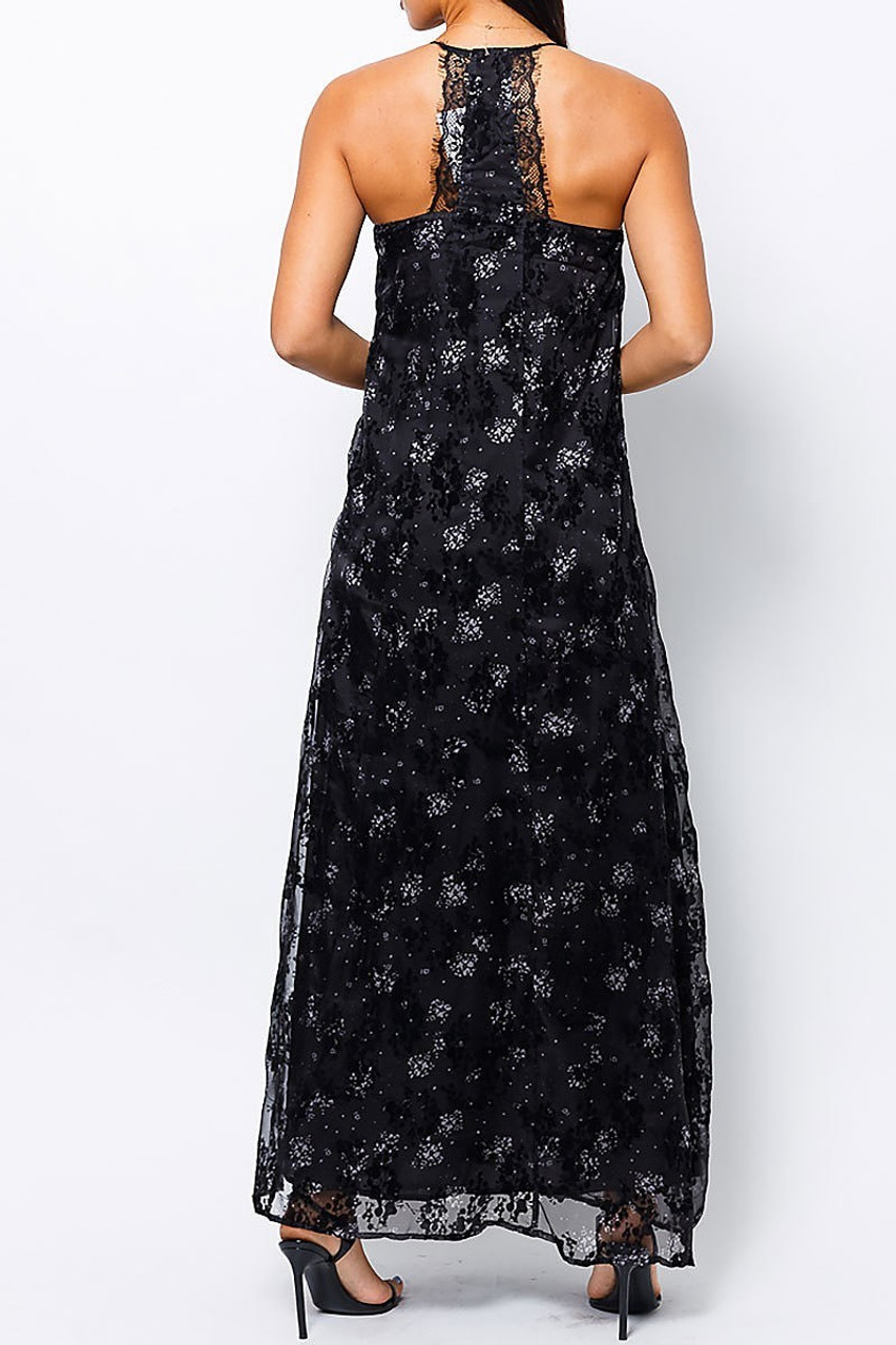 Back of Black Floral Burnout Maxi Dress with Lace Accented T Back