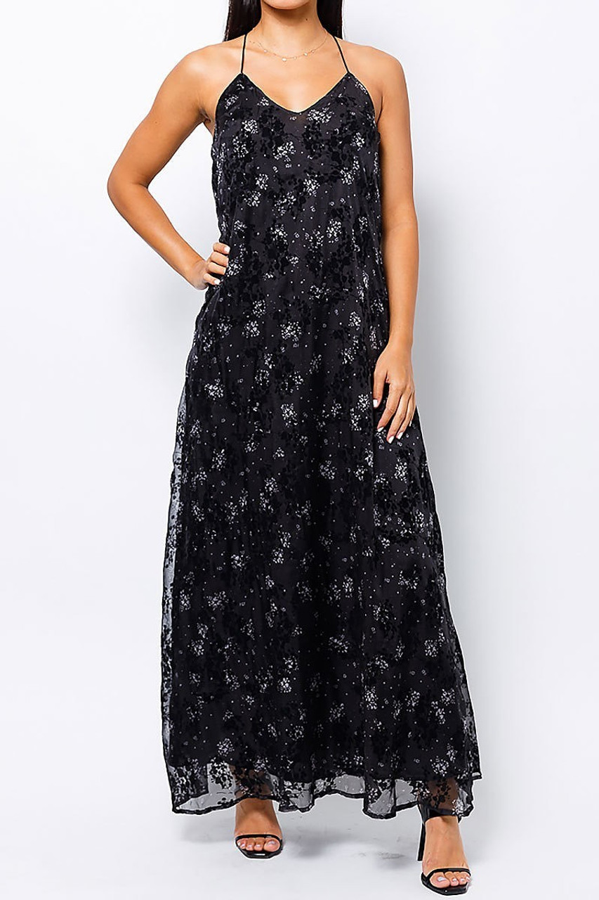 Front of Black Floral Burnout Maxi Dress with Lace Accented T Back