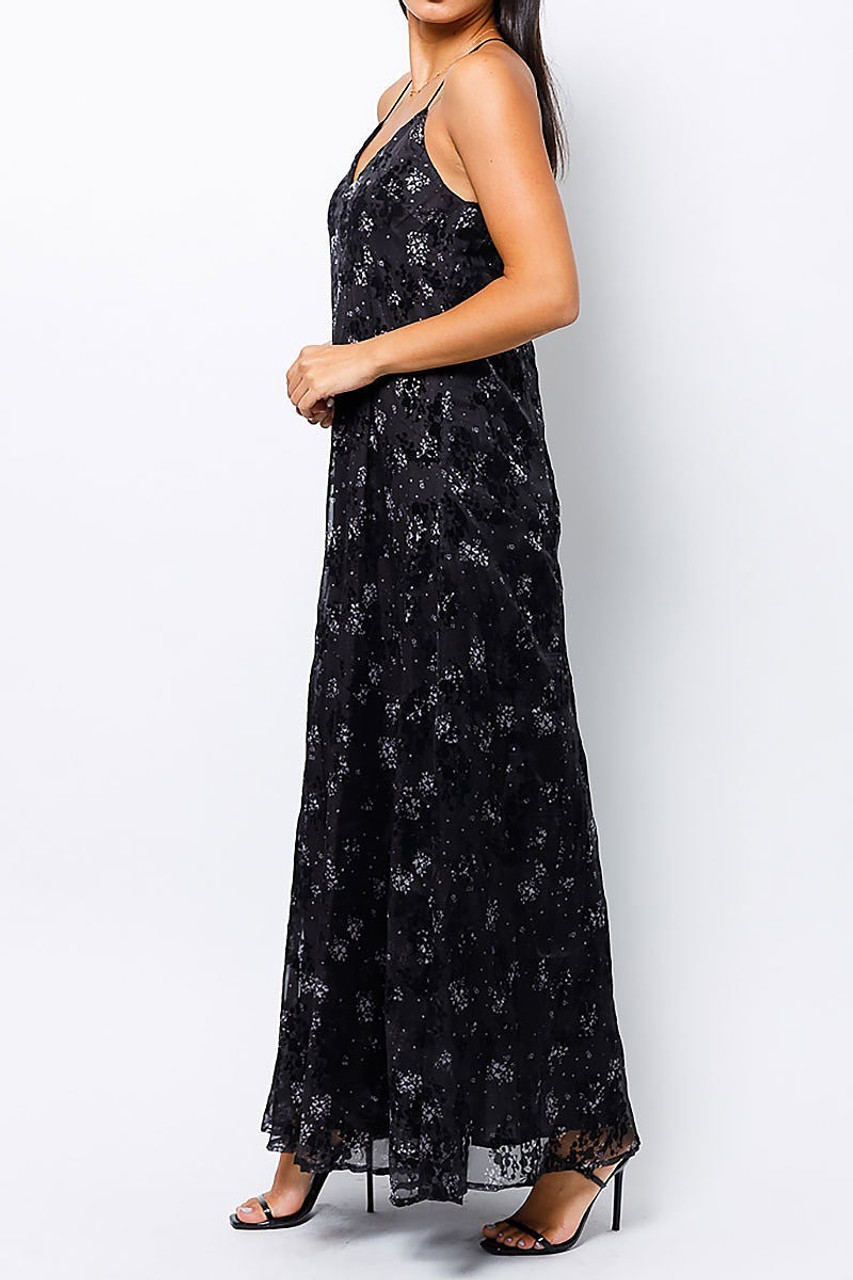 Left side of Black Floral Burnout Maxi Dress with Lace Accented T Back