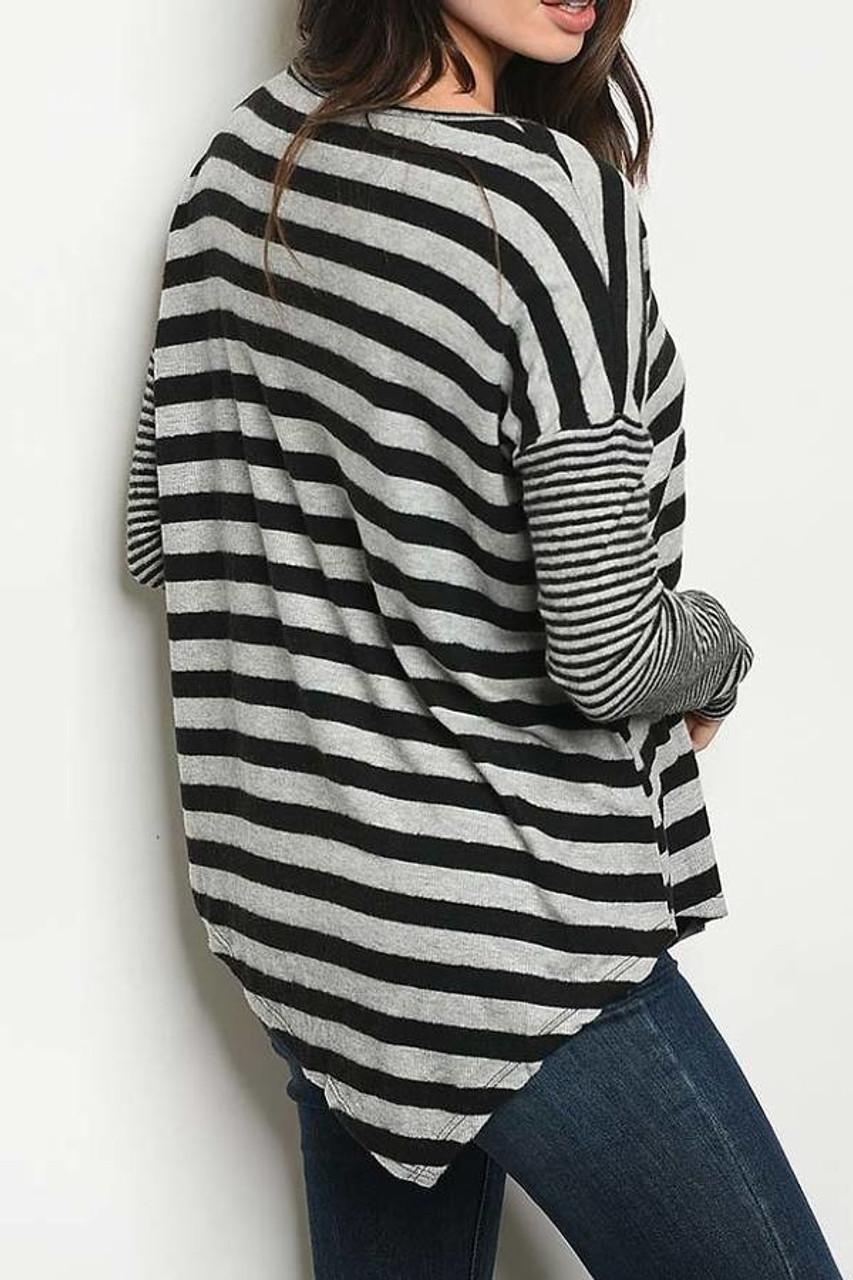 Back view of Grey/Black Crisscross Keyhole Mixed Stripe Asymmetrical Hem Long Sleeve Top