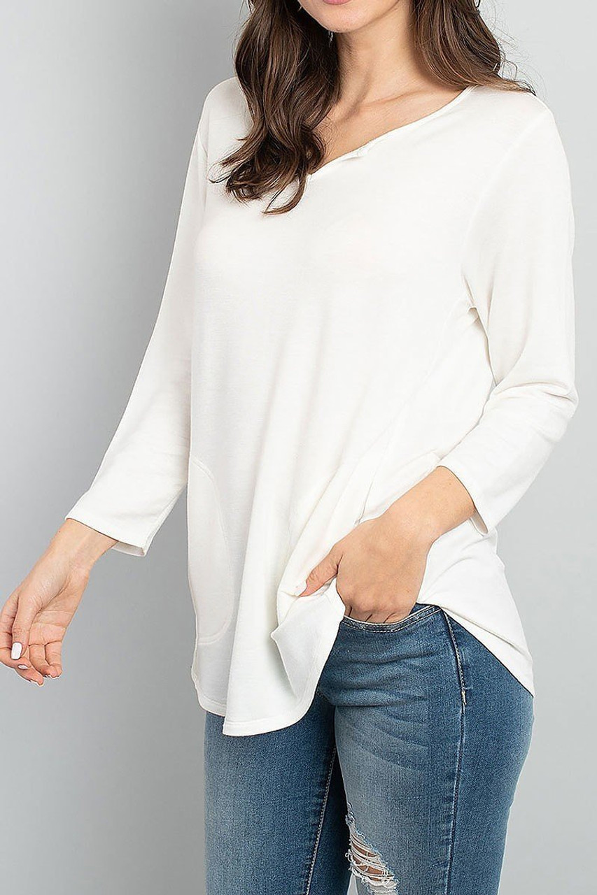 45 degree view of Ivory Split Neck Round Hem Long Sleeve Tunic with Pockets