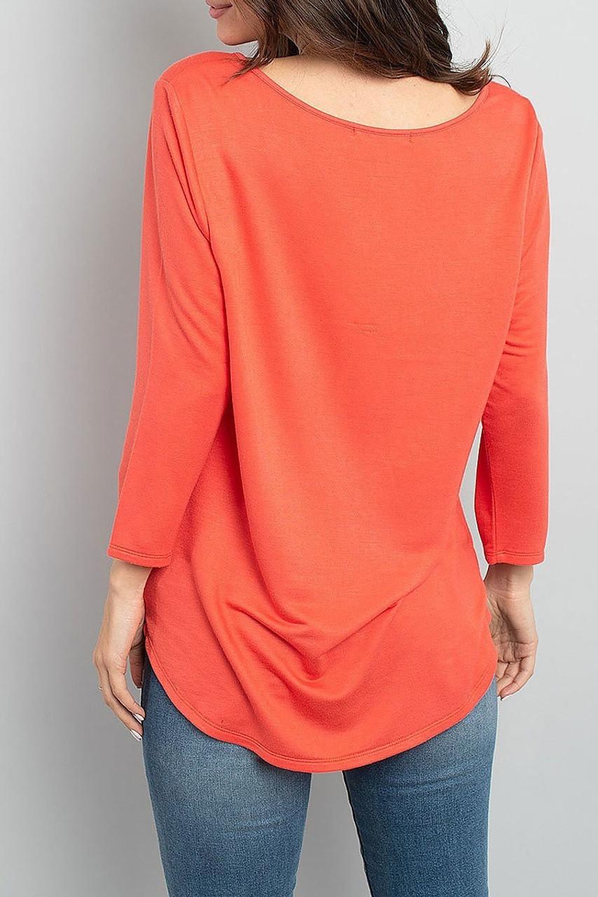 Back of Coral Split Neck Round Hem Long Sleeve Tunic with Pockets