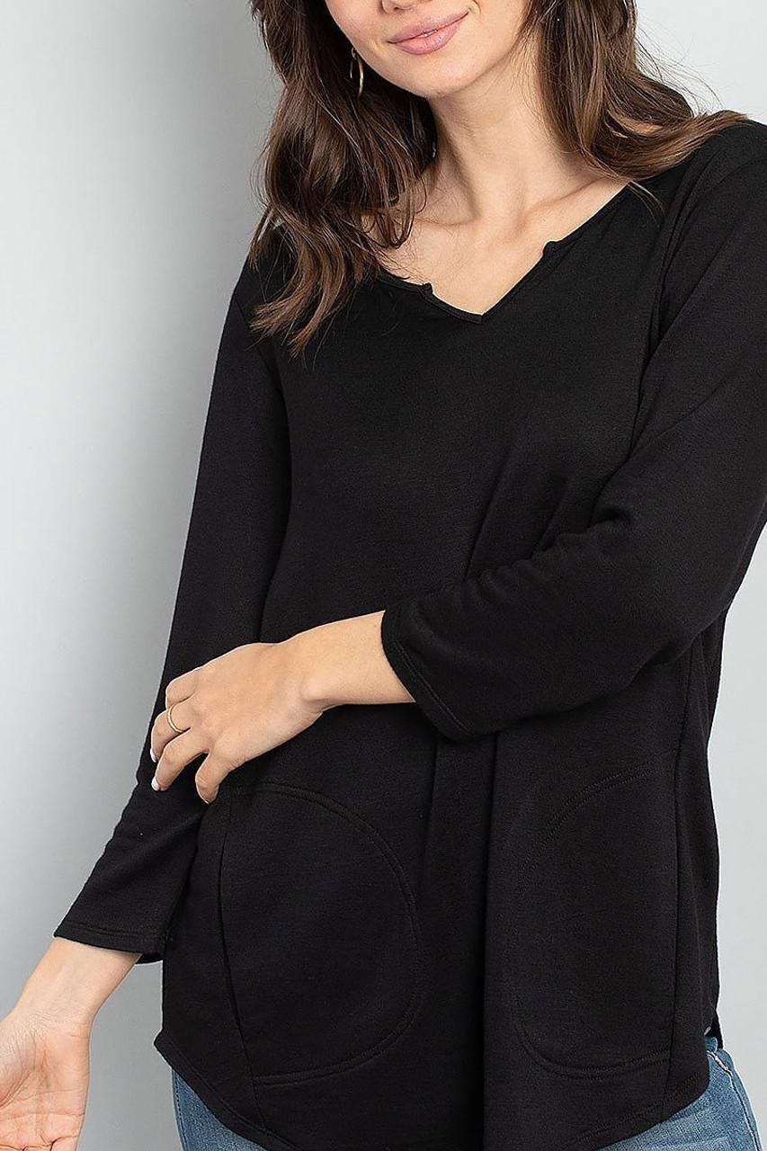 Front of Black Split Neck Round Hem Long Sleeve Tunic with Pockets