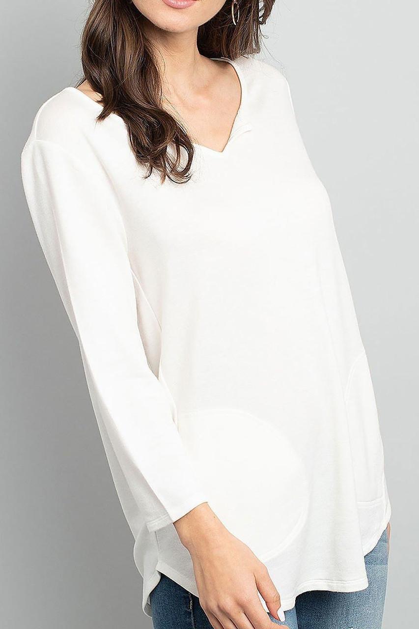 Front of Ivory Split Neck Round Hem Long Sleeve Tunic with Pockets