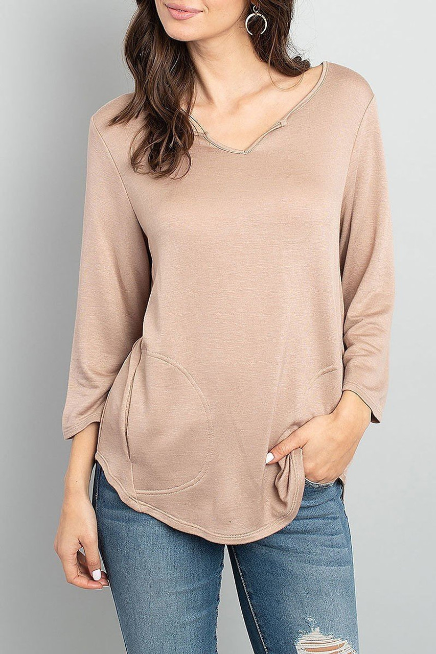 Front of Taupe Split Neck Round Hem Long Sleeve Tunic with Pockets