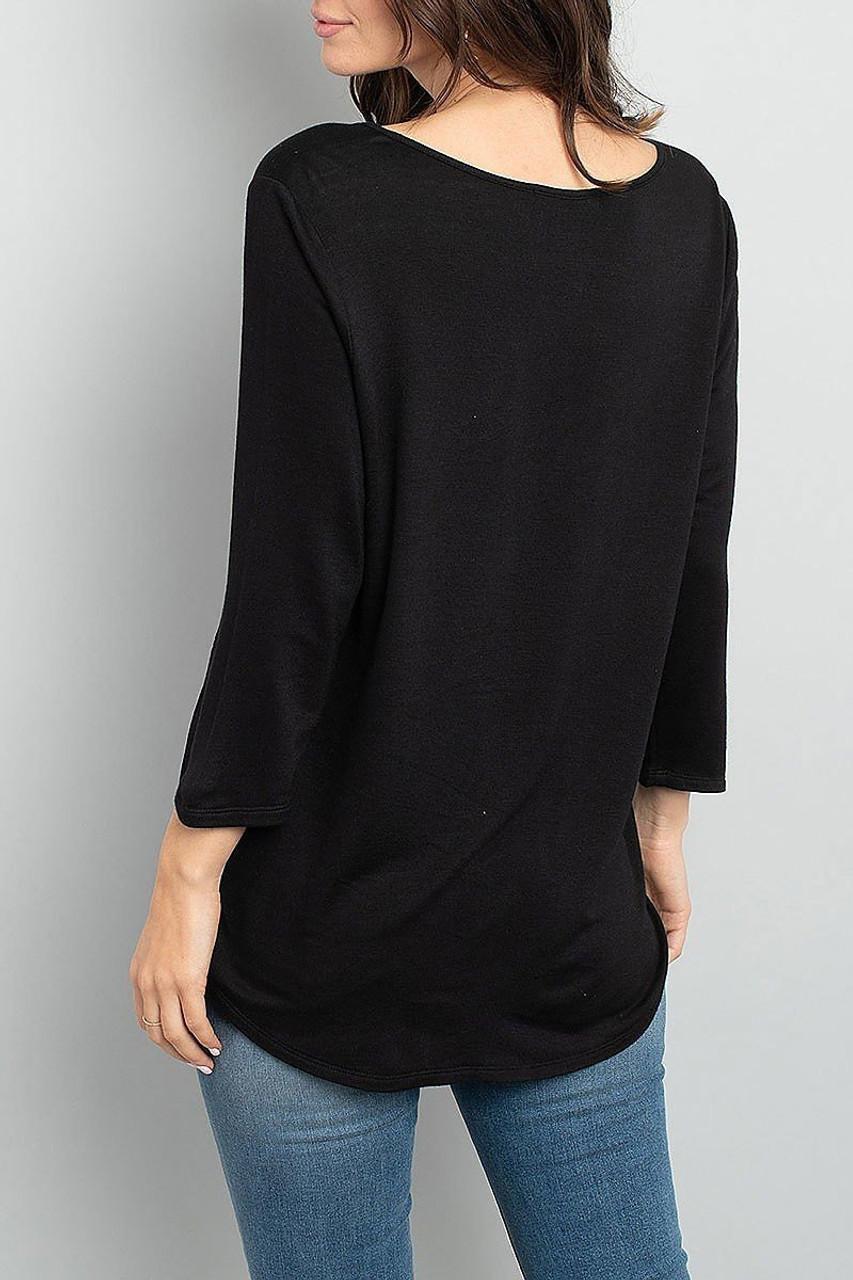 Back view of Black Split Neck Round Hem Long Sleeve Tunic with Pockets