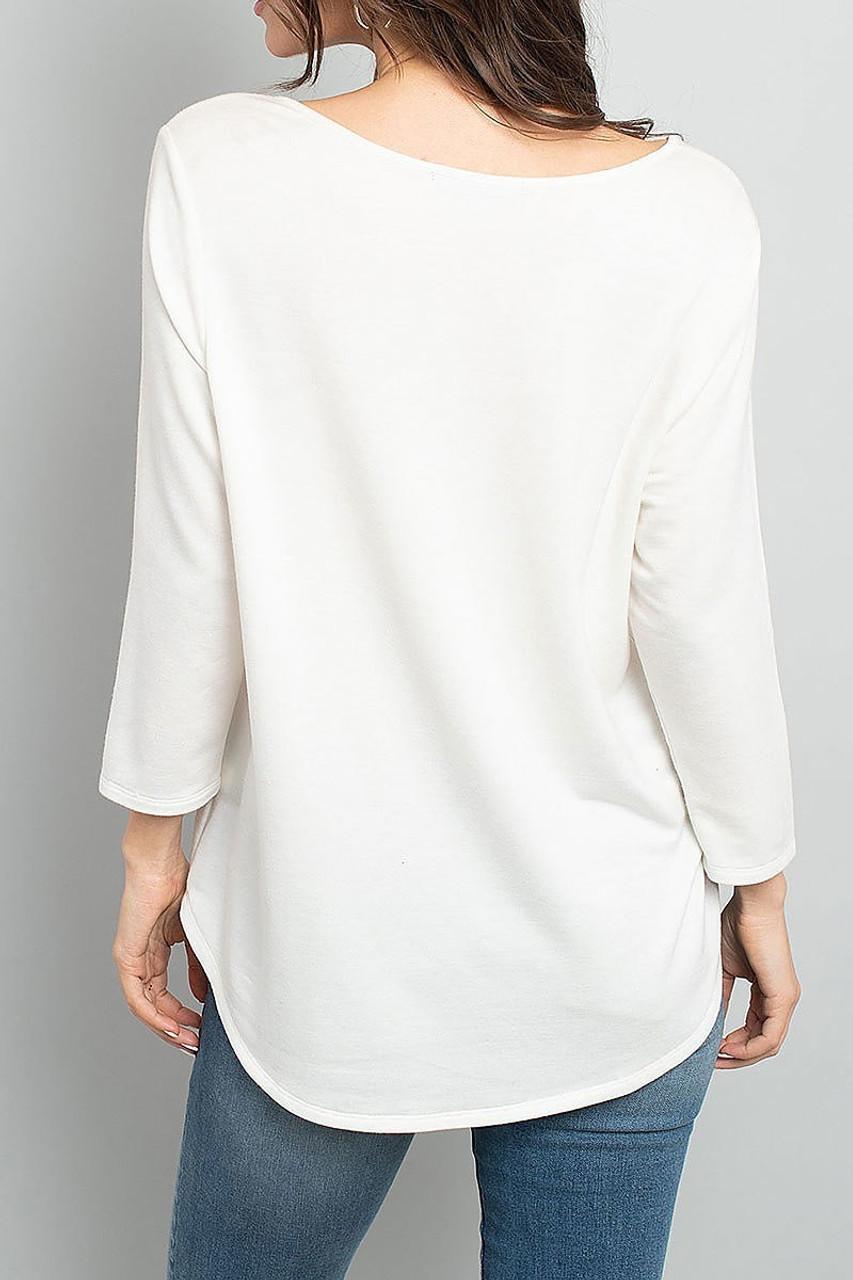 Back view of Ivory Split Neck Round Hem Long Sleeve Tunic with Pockets