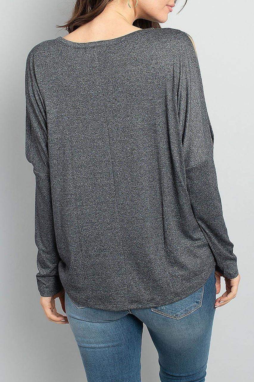 Back of Split Shoulder Marled Long Sleeve Top