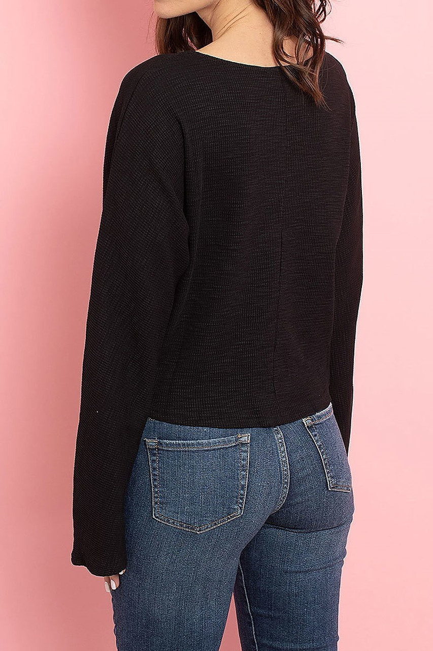 Back view of Black Cropped Waist Tie Hem Long Sleeve Cotton V-Neck Top